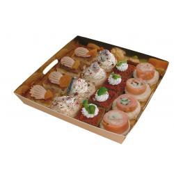 Plateau de présentation doré pour petits fours, pâtisseries 160 x 160 x 27 mm