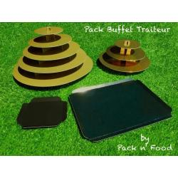 Pack plateaux de présentation jetables pour buffet traiteur, événement, festivités (petits fours, amuse-bouches…) 30/50 pers.