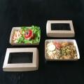 Boîte à salade PAP&CLIP® en kraft brun ( fond + couvercle et fenêtre transparente)