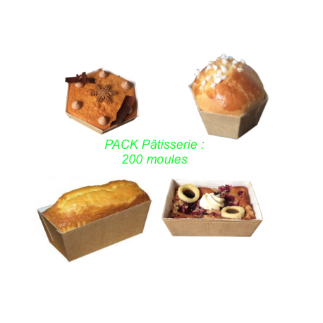 Pack de 200 moules de cuisson jetables pour cakes, cupackes, muffins, pain d'épice…